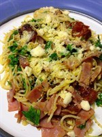 Angel Hair With Ham in Pesto Sauce