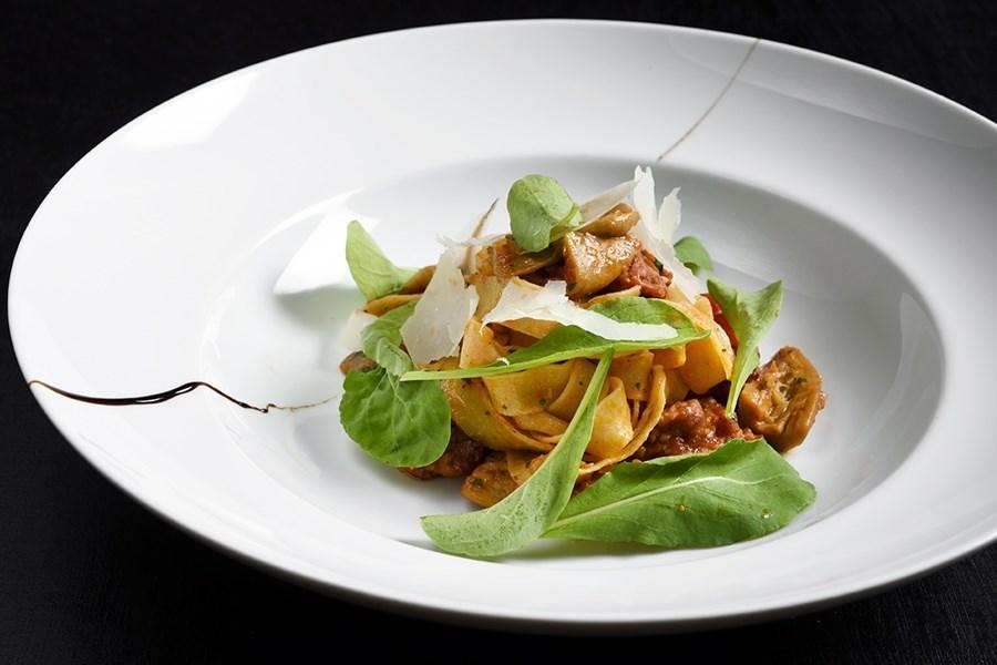พัพพาร์เดลล์ (Pappardelle with porcini and arugula)